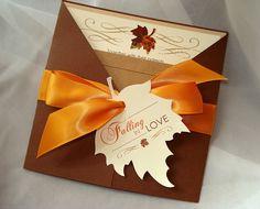 Falling In Love Invite Fall Wedding Invitation Autumn Leaf Rustic Set