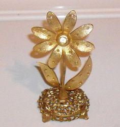 Vintage Earring Holder Rhinestone goldtone earring by designfrills, $15.00