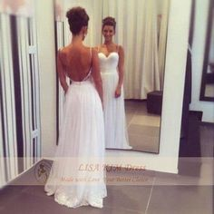 2014 Summer Wedding Dress Spaghetti Tops Hot Backless Wedding Dress Beach dress Floor Length Dress or Made with Trailing for Summer Wedding on Etsy, $189.00