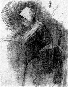 Girl Writing Piet Mondrian