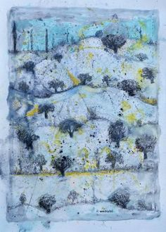 "Saatchi Art is pleased to offer the painting, ""Original Mixed Media on Paper: Winter in Ramallah by Nabil Anani,"" by Zawyeh Gallery. Original Painting: Watercolor on Paper. Palestine, Saatchi Art, Vintage World Maps, Original Paintings, Mixed Media, Art Gallery, Trees, Snow, Watercolor"