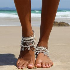 Silver Barefoot Sandals with silver chains for by ForeverSoles