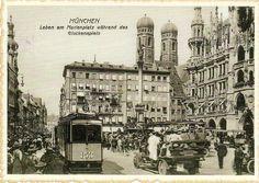 Postcard from Germany ~ Munchen, Marienplatz, ca. 1921 ~ Leben am Marienplatz wahrend des Glockenspiels www.postcrossing.com