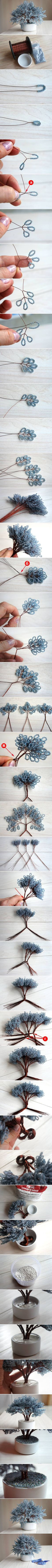 DIY Miniature Tree of Beads ... middle step would look great on a wall!