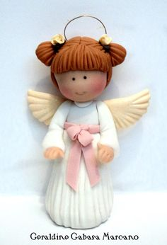 angel niña  porcelana fria polymer clay