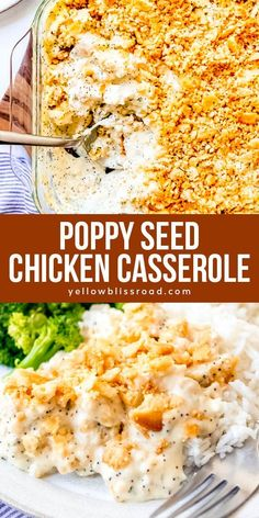This easy, delicious Poppy Seed Chicken is a comfort food classic with tender chunks of chicken in a creamy sauce topped with a crunchy, buttery topping of Ritz crackers! Its a family favorite that is always devoured by kids and grown-ups alike! Poppy Seed Chicken Casserole, Ritz Cracker Chicken Casserole, Chicken Bake Casserole, Poppyseed Chicken Recipe, Hamburger Casserole, Lemon Chicken, Grilled Chicken, Easy Dinner Recipes, Recipes