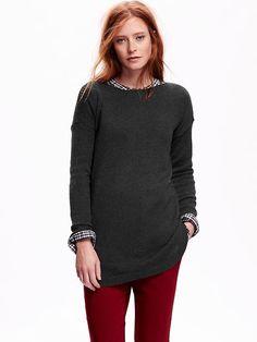 Curved-Hem Pullover Sweater