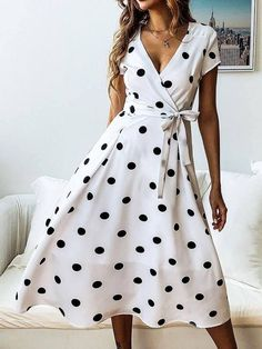 Material:Polyester Silhouette:A-Line Dress Length:Mid-Calf Sleeve Length:Short Sleeve Sleeve Type:Regular Neckline:V-Neck Combination Type:Single Waist Line:High Waist. Dot Dress, Dress Up, Dress Beach, Elegant Midi Dresses, A Line Dresses, Maxi Dresses, Formal Dresses, Daily Dress, Vestidos Vintage