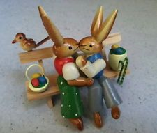 "VIntage GDR East Germany ""KIssing Easter Bunnies/Rabbits"" Sitting on Bench Bird"