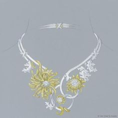 Gouache design drawing for Chrysanthème decor necklace   Contemporary  Design/retailer: Van Cleef & Arpels   Bals de Légende High Jewelry collection, the Proust Ball  White gold, white round diamonds, yellow gold, yellow round
