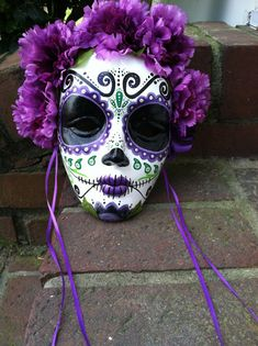 Day of the Dead hand painted decorative mask Dia de los Muertos sugar skull purple flowers by MrsMuertos on Etsy made on a wreath for Mardi Gras season. Day Of Dead, Day Of The Dead Mask, Day Of The Dead Party, Halloween Kostüm, Holidays Halloween, Halloween Makeup, Halloween Designs, Halloween Parties, Homemade Halloween