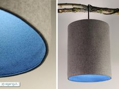 Pendelleuchte+30+cm+aus+Wollfilz+grau/petrol+von+eigengut+auf+DaWanda.com