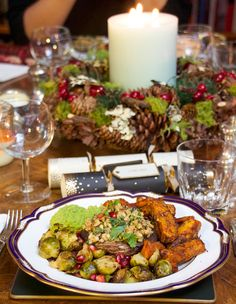 A Christmas Feast: Baked Carrots & Sweet Potatoes, Brussels Sprouts, Stuffed Mushrooms & Chocolate Cake with Coconut Frosting and Pomegranates.