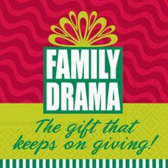 'Family Drama' Funny Christmas Cocktail Napkins by Terri Puma