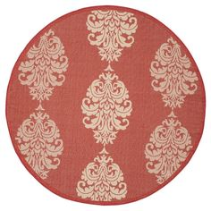 Orly Round 5'3 Outdoor Rug - Red / Natural - Safavieh, Red/Natural