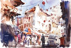 "🔑 Unlock the secret to sparkling watercolors with these five keys to painting with the white of your paper. Pictured here: ""Chinatown Morning Shoppers"" (watercolor on paper, 15×22) by Ng Woon Lam Oil Painting Lessons, Watercolor Painting Techniques, Acrylic Painting For Beginners, Watercolor Artists, Watercolor Landscape, Watercolor Flowers, Watercolor Paintings, Watercolors, Pencil Shading Techniques"
