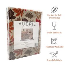 Dress your table for autumn with the Autumn Medallion tablecloth from Aubrie Home Accents. This decorative seasonal tablecloth features an all-over design of falling leaves in red, orange, and brown hues. Its print is ideal for special occasions, holiday decorating or everyday use in the fall. It measures 60-in. by 120-in. to fit rectangular tables that seat 10 to 12 people. This tablecloth is made from easy care polyester that's machine washable and iron-safe to make cleanup a breeze. Fall Home Decor, Autumn Home, Farmhouse Kitchen Inspiration, Kitchen Tablecloths, Falling Leaves, Holiday Decorating, Home Accents, Autumn Leaves, Special Occasion