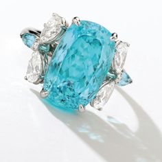 Paraïba tourmalines have a captivatingly vivid blue hue and are among the rarest gemstones in the world. This ring beautifully combines #paraiba #tourmaline and #diamonds. Lucky the one who will place the highest bid for it at @sothebys Magnificent Jewels and Jadeite auction in Hong Kong