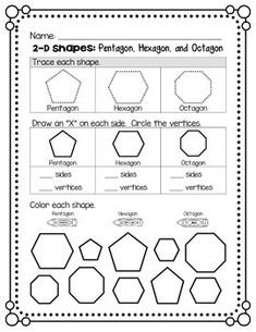 Use this page during a study of shapes. Students will trace a pentagon, hexagon, and octagon, identify the number of sides and corners, and then identify each shape using a color-coded key. Kindergarten Lesson Plans, Preschool Math, Preschool Worksheets, Math Resources, Teaching Math, Montessori Math, Geometry Practice, Shapes Worksheets, Easel Activities