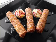 French Toast Sticks stuffed with sweetened cream cheese
