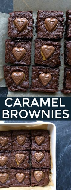 Valentine's Day dessert for two: caramel heart brownies! Brownies from scratch using cocoa powder made in a 8x8 square pan. Perfect chocolate dessert for two. See more desserts like this ---> http://fabulesslyfrugal.com/?s=dessert