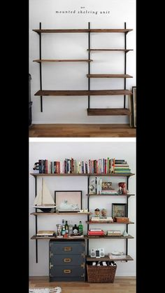 Shelves layout for gym/office, but more substantial shelves and much less stuff on them