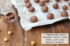4 Ingredient Paleo Hazelnut Balls (that taste just like Ferrero Rocher) Paleo Treats, Yummy Treats, Real Food Recipes, Healthy Recipes, Protein Ball, Ferrero Rocher, Paleo Dessert, 4 Ingredients, Balls