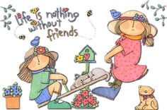 Life is nothing without friends cute friendship quote friends life animated gif teeter-totter
