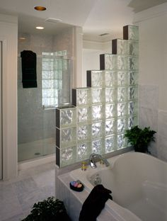 glass brick | This Glass Block wall is made of Pittsburgh Corning 8x8x4 Decora block ...