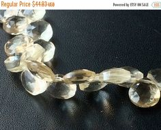 SALE 40% Beer Quartz Beads Faceted Heart by gemsforjewels on Etsy