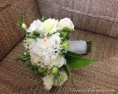 White and Green Bridal Bouquet w/ Crystal Wrap