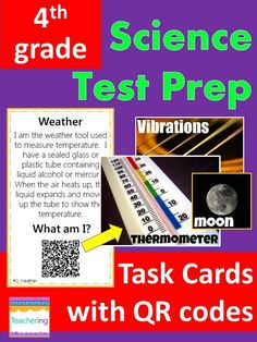 4th grade Science test prep task cards with QR codes! Students read clues, determine the described vocab word, & scan the QR code to see a photo of the correct Science term! Great support for ELLs & visual learners. Perfect for GA Milestones test prep (and other end of year Common Core Assessments). These Science task cards make fun review centers before the end of the year test.