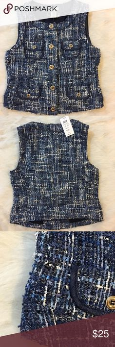 Cache Blue  Tweed Vest Size 2 NWT Beautiful cache tweed vest with various blue hues and white accent. Silver tone button closure, frontal pockets, material; 35% polyester 30% acrylic 23% nylon 12% wool, lining material; 94% polyester 6% spandex. New with tags Cache Jackets & Coats Vests