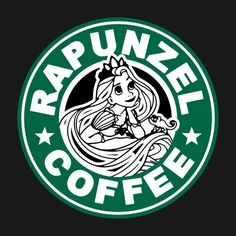 Rapunzel Coffee - Tangled - T-Shirt Disney Rapunzel, Disney T-shirts, Cute Disney, Disney Trips, Disney Starbucks, Starbucks Logo, Starbucks Coffee, Disney Frames, Coffee Logo