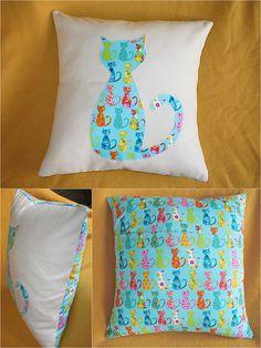cat pillow **Michael Miller Cat Fabrics can be bought at http://www.modes4u.com/japanese/michael+miller+cat