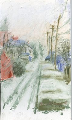 """""""Snow in the Alley"""", 5"""" x 7"""", 2004 mixed pastels smooth matboard with sanded layer of gesso and marble dust Drawn looking out a window."""