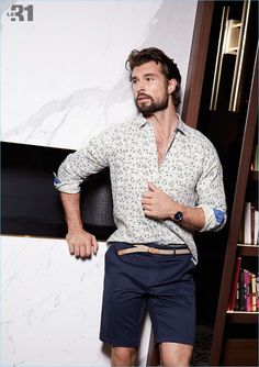 Simons enlists Walter Savage for a casual style update, which includes LE 31's floral print linen shirt and braided belt chino Bermudas. Walter also wears a Skagen watch.