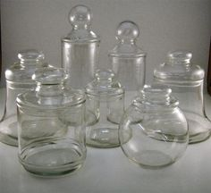 Lot of 7 Vintage Glass Apothecary Jars Candy Wedding Buffet | eBay