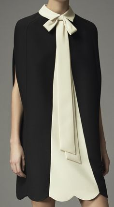 Valentino Pre-Fall 2014 - black and cream, bow, scallop