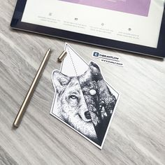 Dotwork geometric wolf forest tattoo design with full Moom, commission for Vincent. For similar designs you can submit a commission for at www.rawaf.shop/commissions