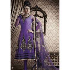 Shaded Violet color Net Anarkali kameez