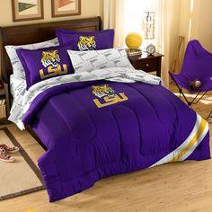 LSU Tigers NCAA Embroidered Comforter Set (Twin/Full) (64 x 86)
