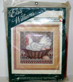 Elsa Williams Canvaswork Yarn Locked Weave Wool Tapestry Chicken Hen Eggs Kit   eBay