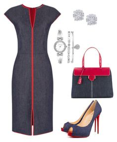 """Denim & Red"" by taniaisabel-1 on Polyvore featuring Myriam Schaefer, Christian Louboutin, Effy Jewelry and Anne Klein"