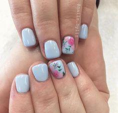 Floral nails Nail Polish, Shellac Nails, Diy Nails, Acrylic Nails, Fancy Nails, Love Nails, Pretty Nails, Uñas Diy, Ballerina Nails