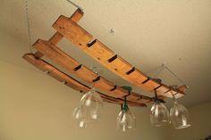 Wine Stave Hanging Glass Rack Oak Barrel Staves 18+ | eBay