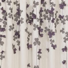 Lush Decor -Flower Drop Purple Window Panel for my living room Purple Curtains, Hanging Curtains, Window Curtains, Shower Curtains, Purple Orchids, Purple Flowers, Embroidering Machine, Purple Bathrooms
