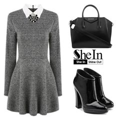 """Grey Long Sleeve Dress"" by tania-alves ❤ liked on Polyvore featuring moda, Givenchy y Giuseppe Zanotti"