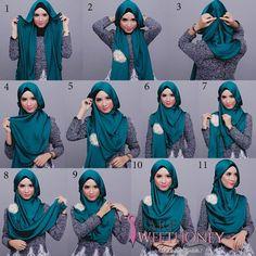 Comment porter le foulard Hijab pashmina tutorial simple. La technique facile à faire pour mettre un voile autour de sa tête sur les cheveux.
