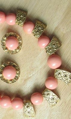 Vintage ACCESSORCRAFT N.Y. Coral round Bead Necklace w/ Gold Dangle Accents & Matching Earrings, 1970's, 1960's,